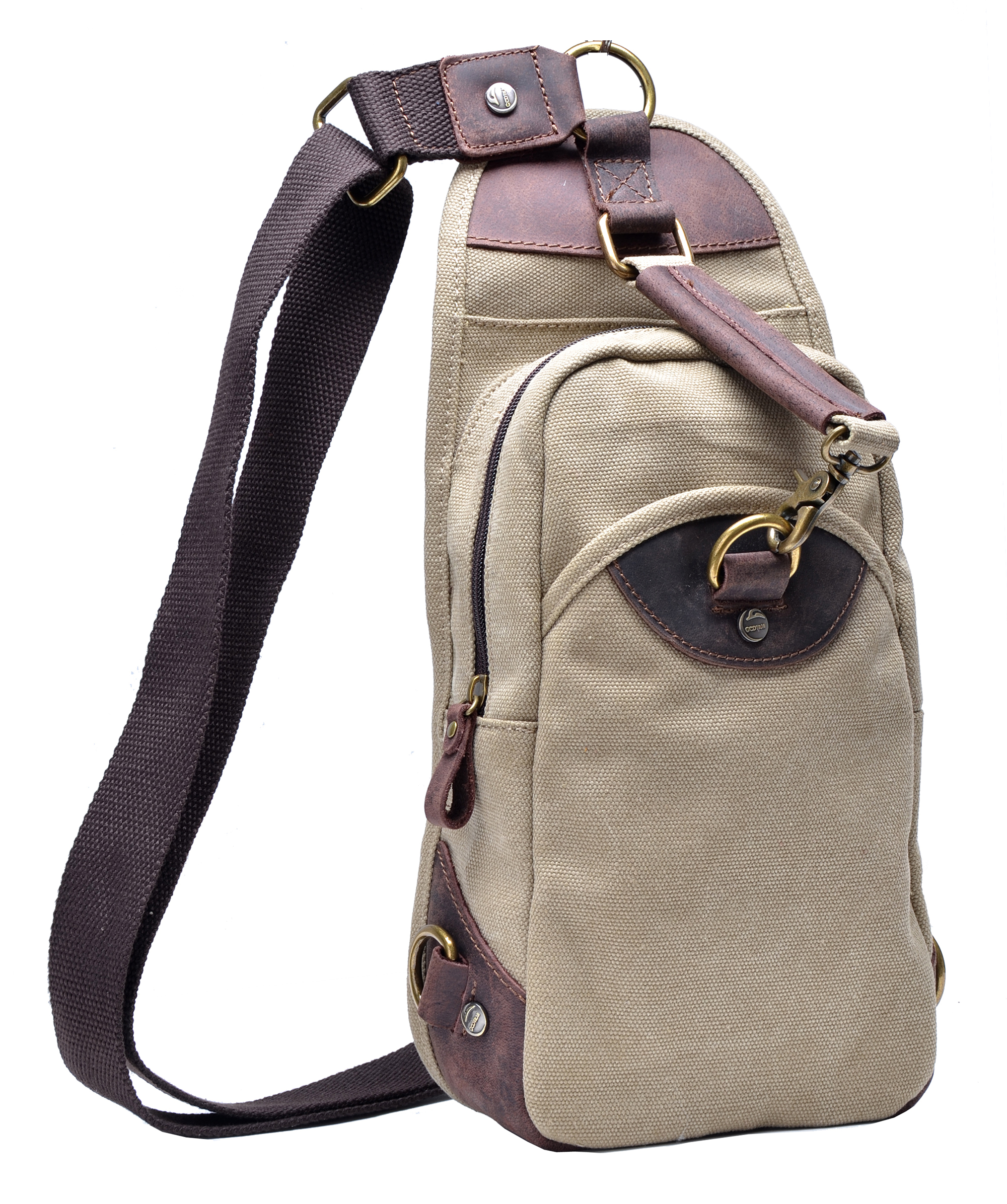 Sling bag leather - Gootium Mens Canvas Genuine Leather Cross Body Chest