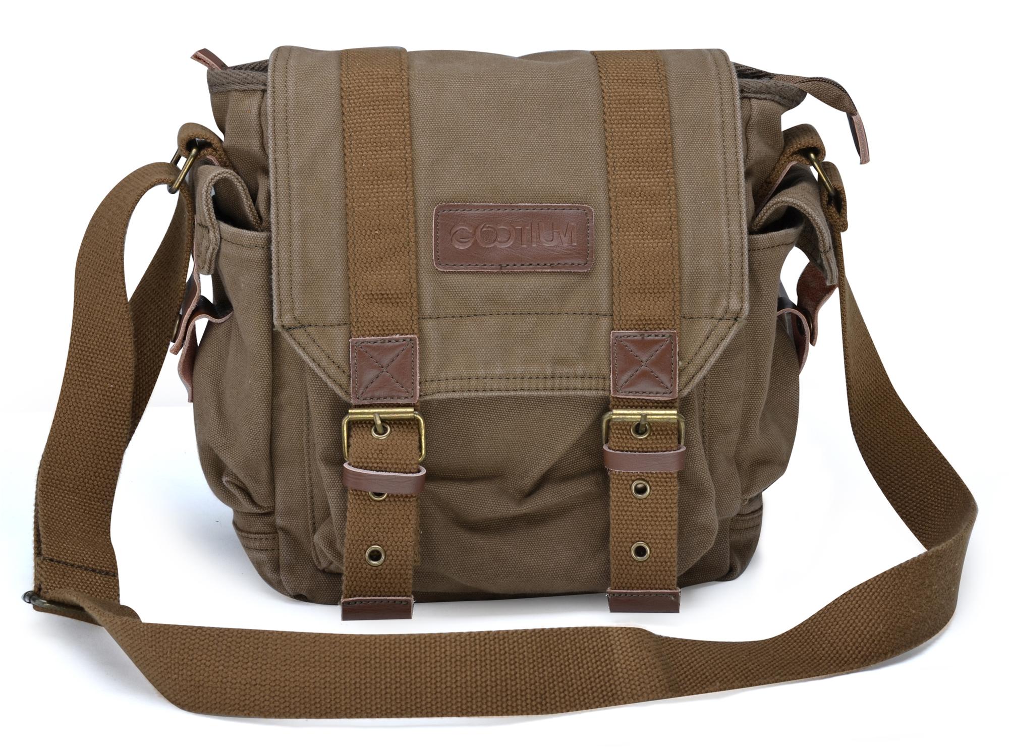 Gootium Vintage Canvas Leather Shoulder Bag Crossbody Messenger ...