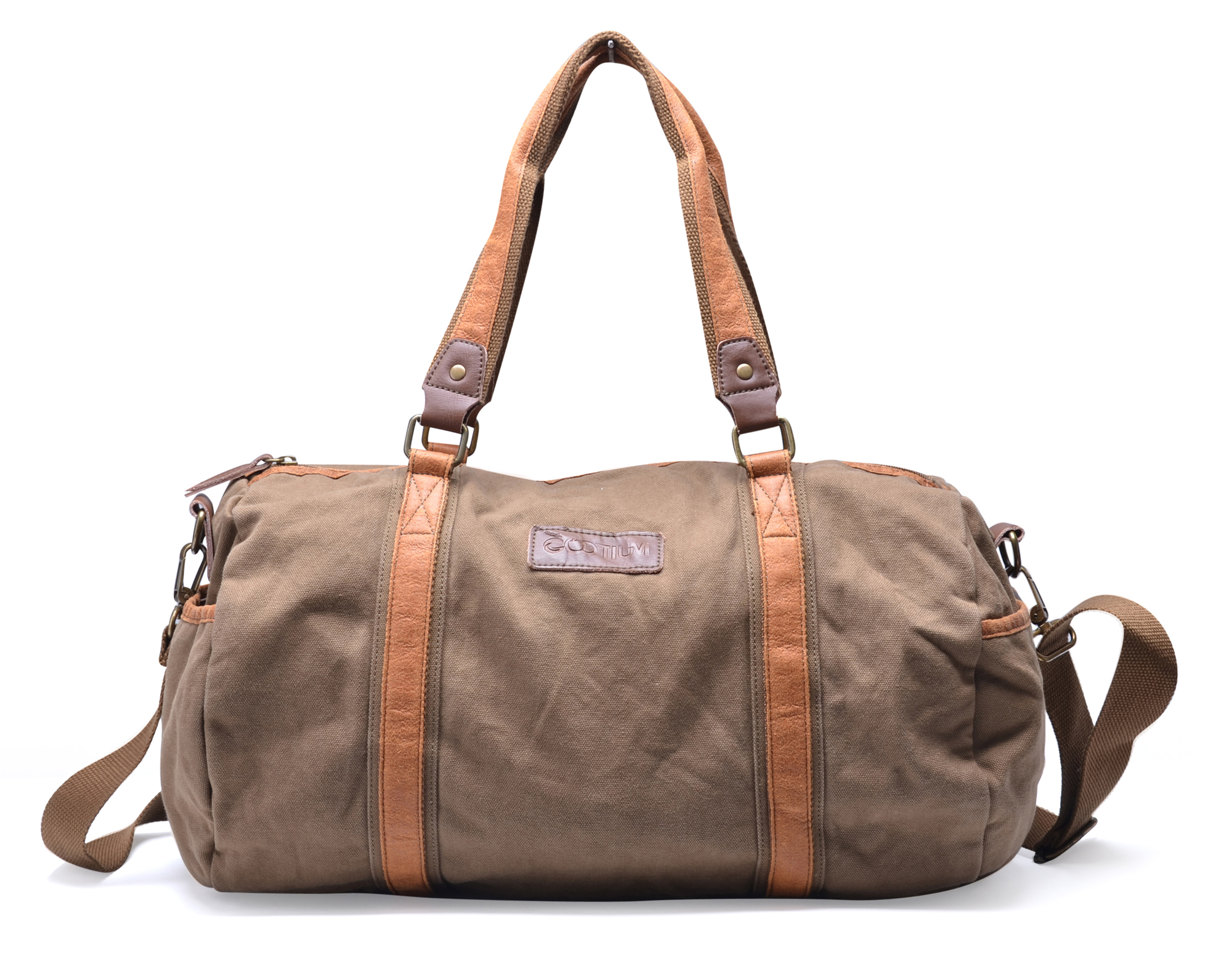 30317 Canvas Leather Traveling Sports Shoulder Duffle Weekend Gym ...