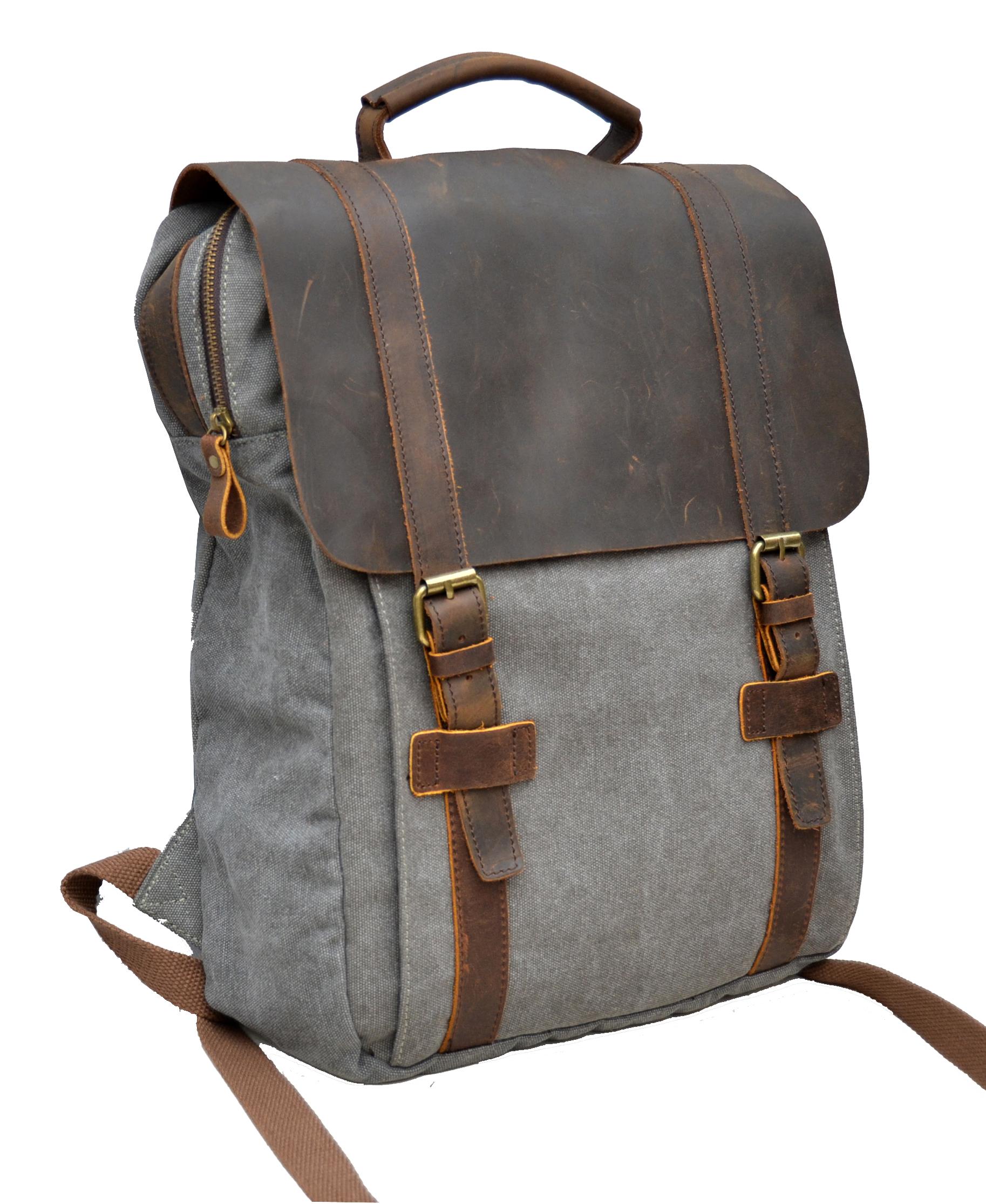 gootium vintage canvas real leather backpack travel. Black Bedroom Furniture Sets. Home Design Ideas
