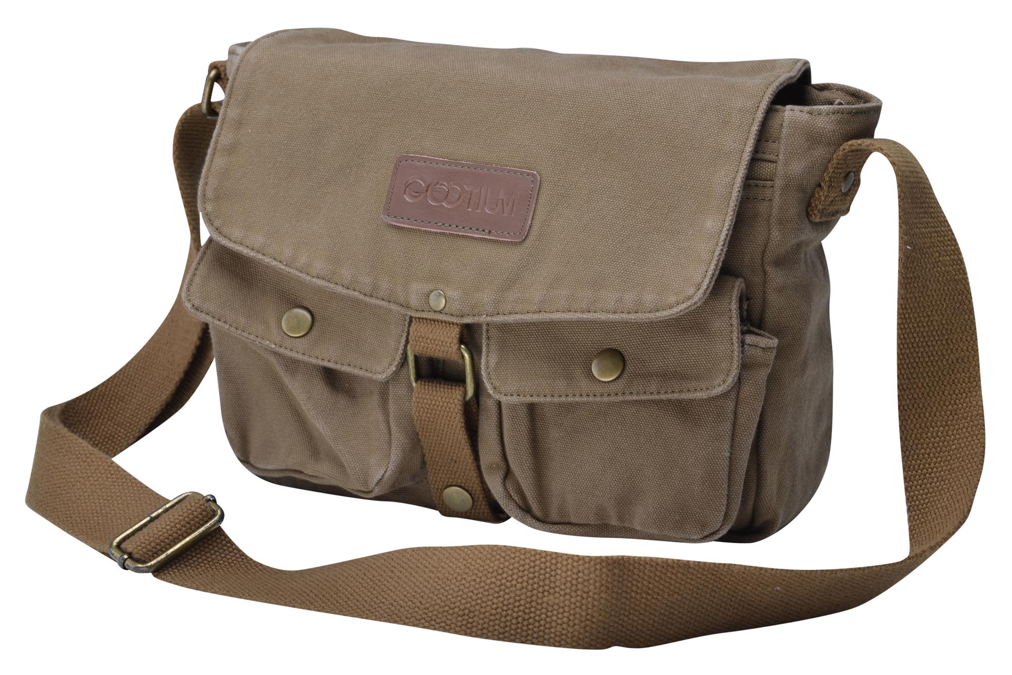gootium canvas genuine leather classic messenger bag. Black Bedroom Furniture Sets. Home Design Ideas