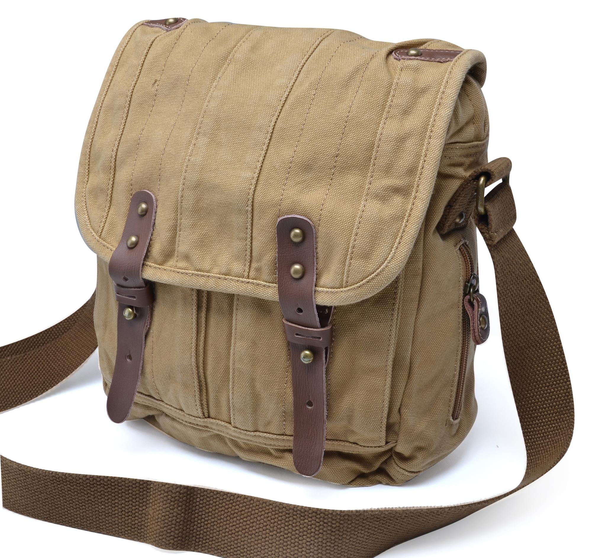 Gootium Thick Canvas Leather Cross Body Messenger Handbag Shoulder ...