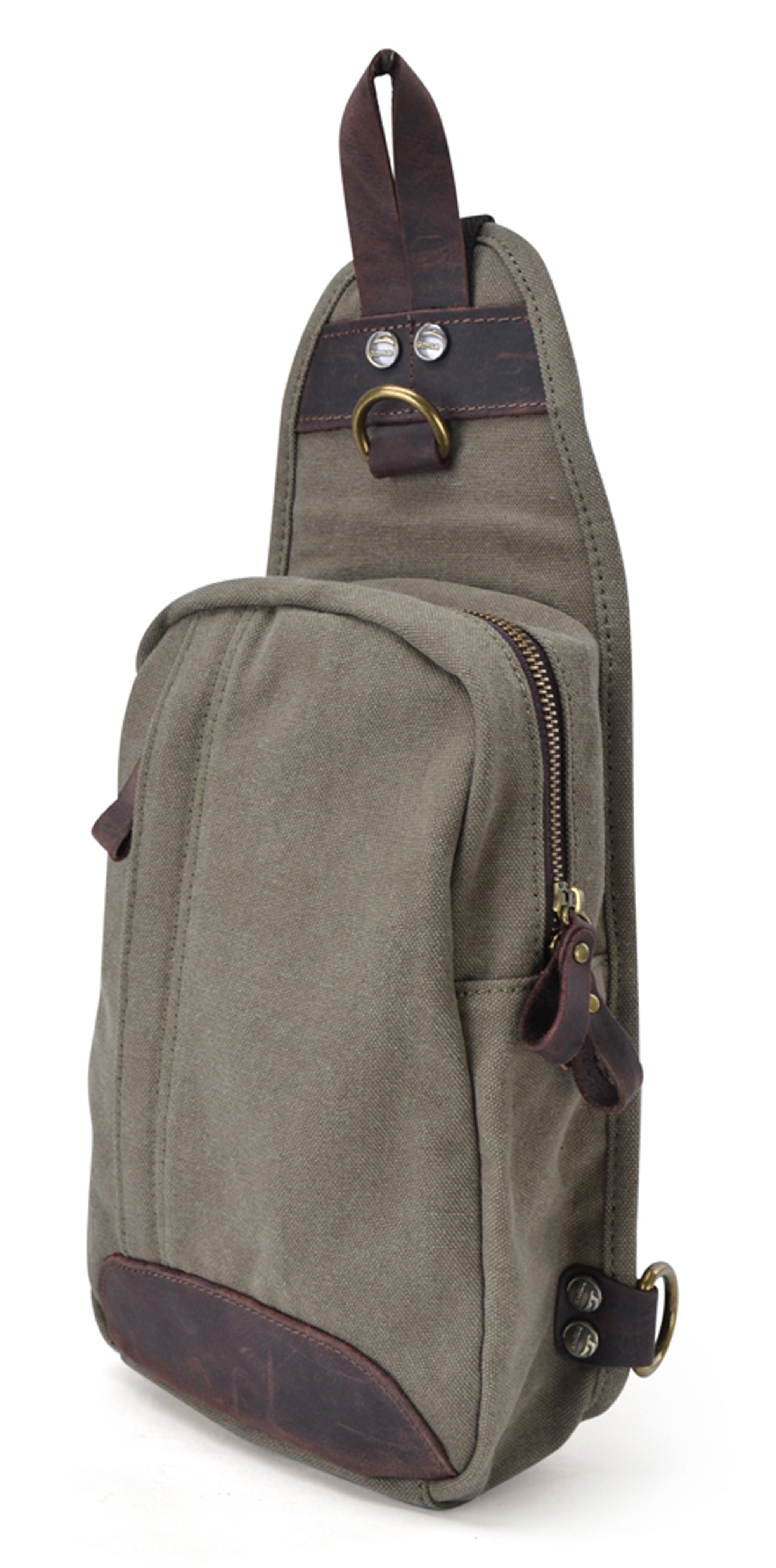 Sling bag leather - Gootium Casual Men 039 S Canvas Genuine Leather