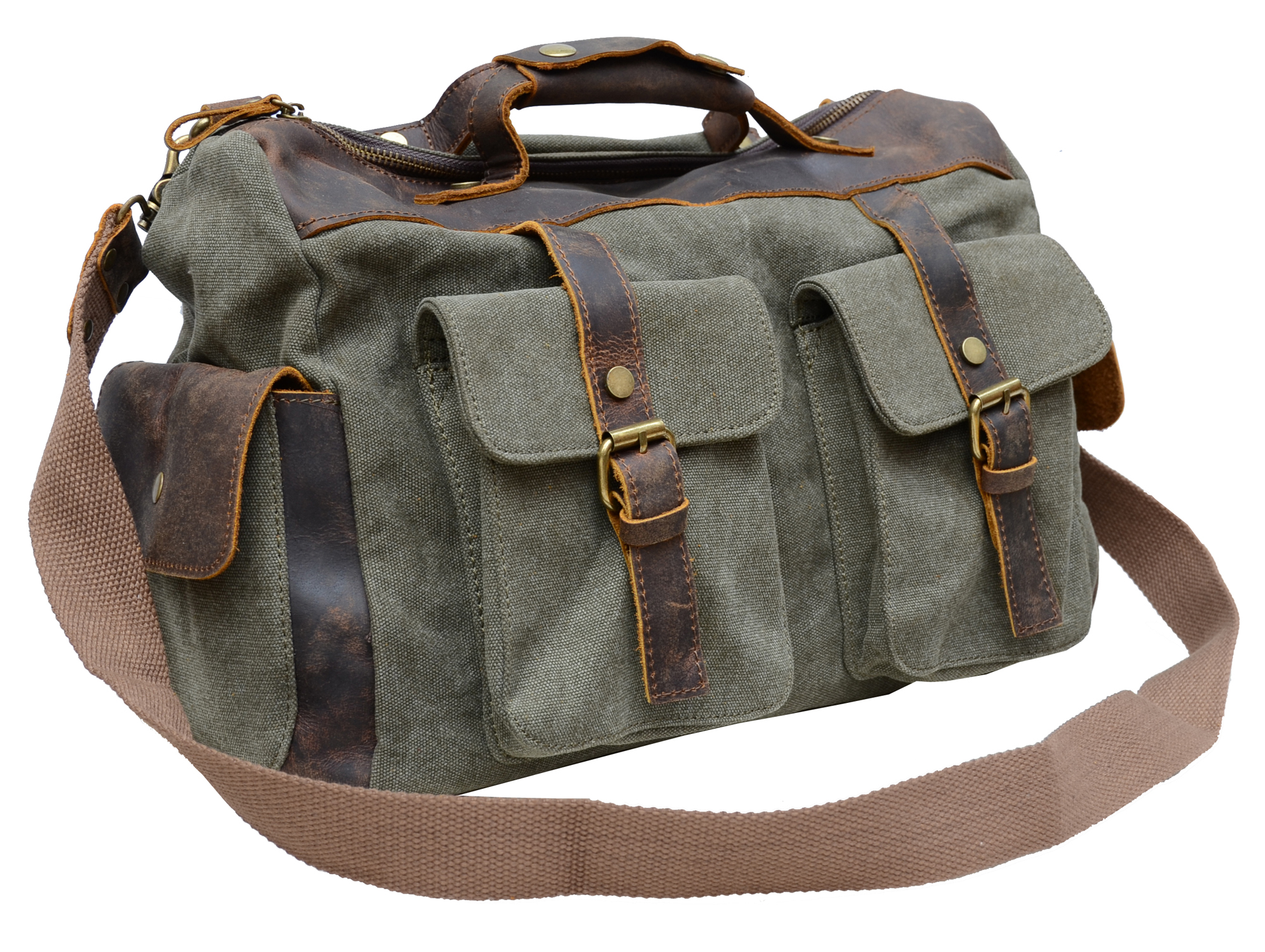 Gootium Vintage Canvas Genuine Leather Shoulder Bag Duffle Weekend ...