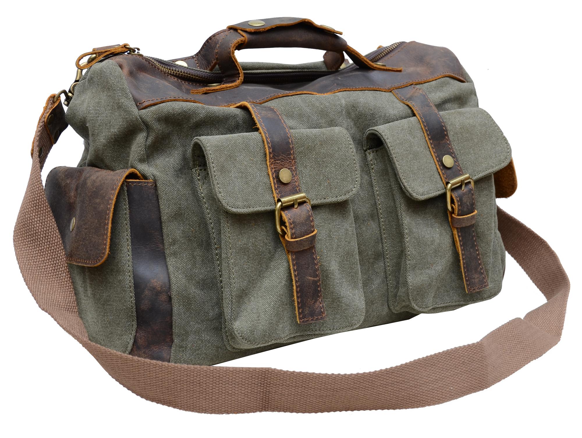 Gootium Vintage Canvas Genuine Leather Shoulder Bag Duffle Weekend ...