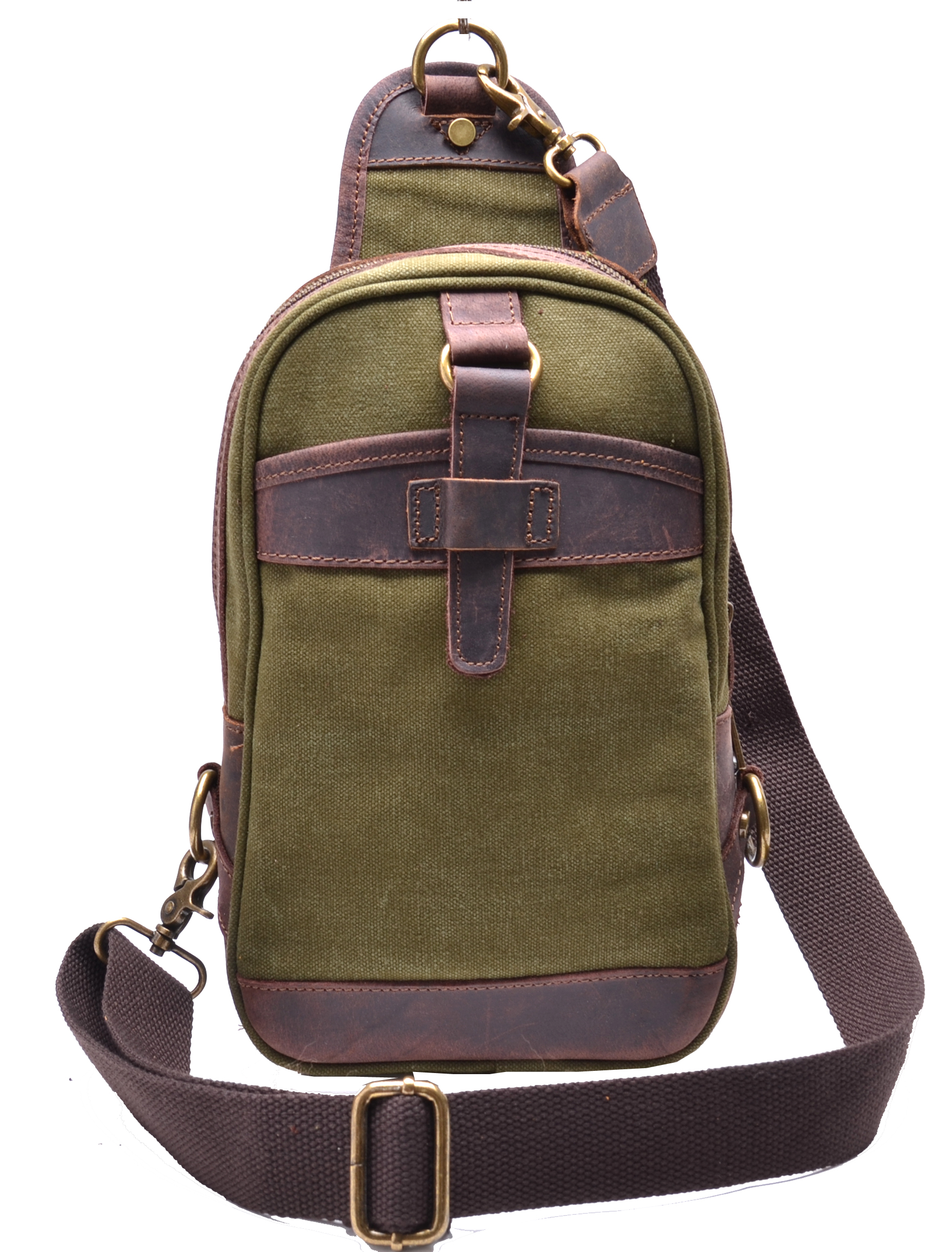 Vintage Canvas Real Leather Trim Sling Bag Cross Body Chest Pack ...