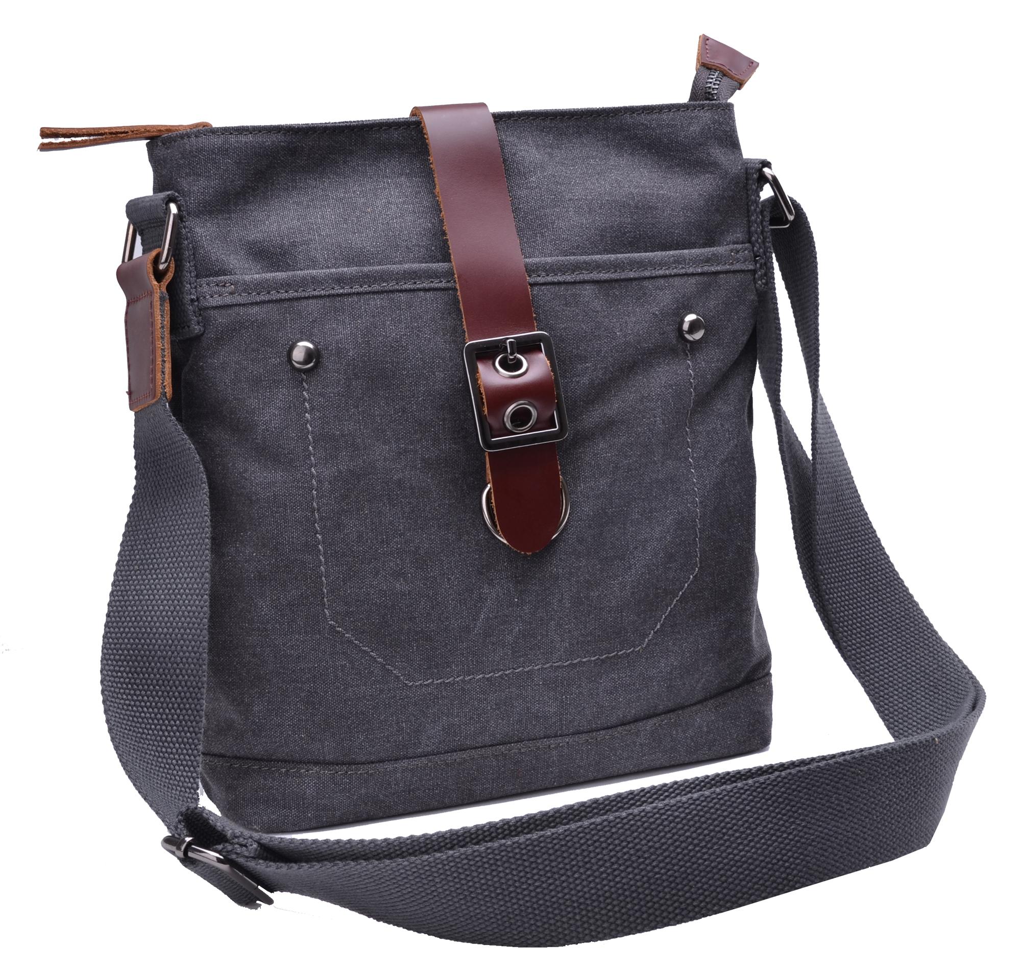Gootium Canvas Leather Small Cross Body Messenger Bag Shoulder Bag ...