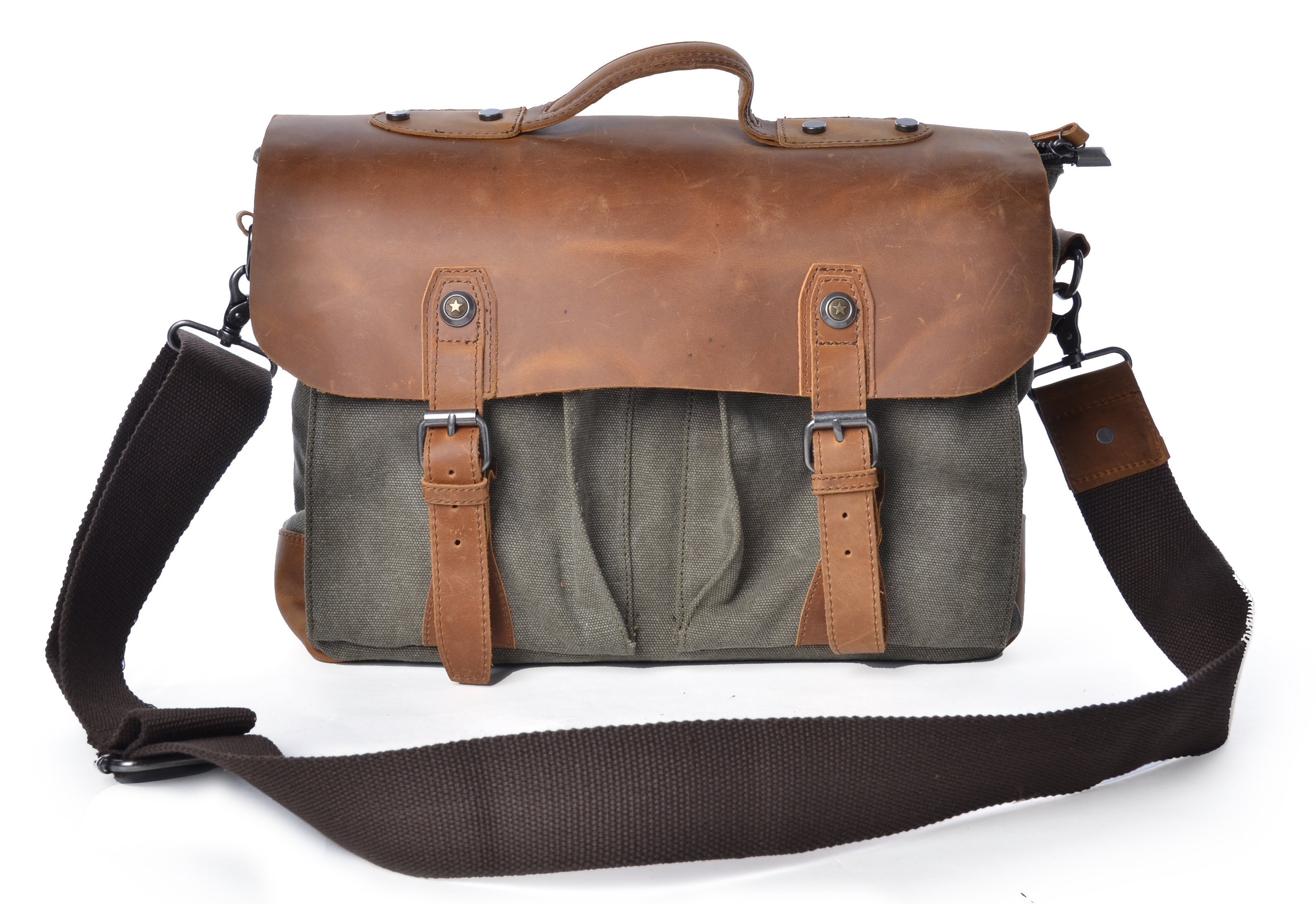 Gootium Vintage Canvas Leather Messenger Bag Briefcase Laptop Bag ...