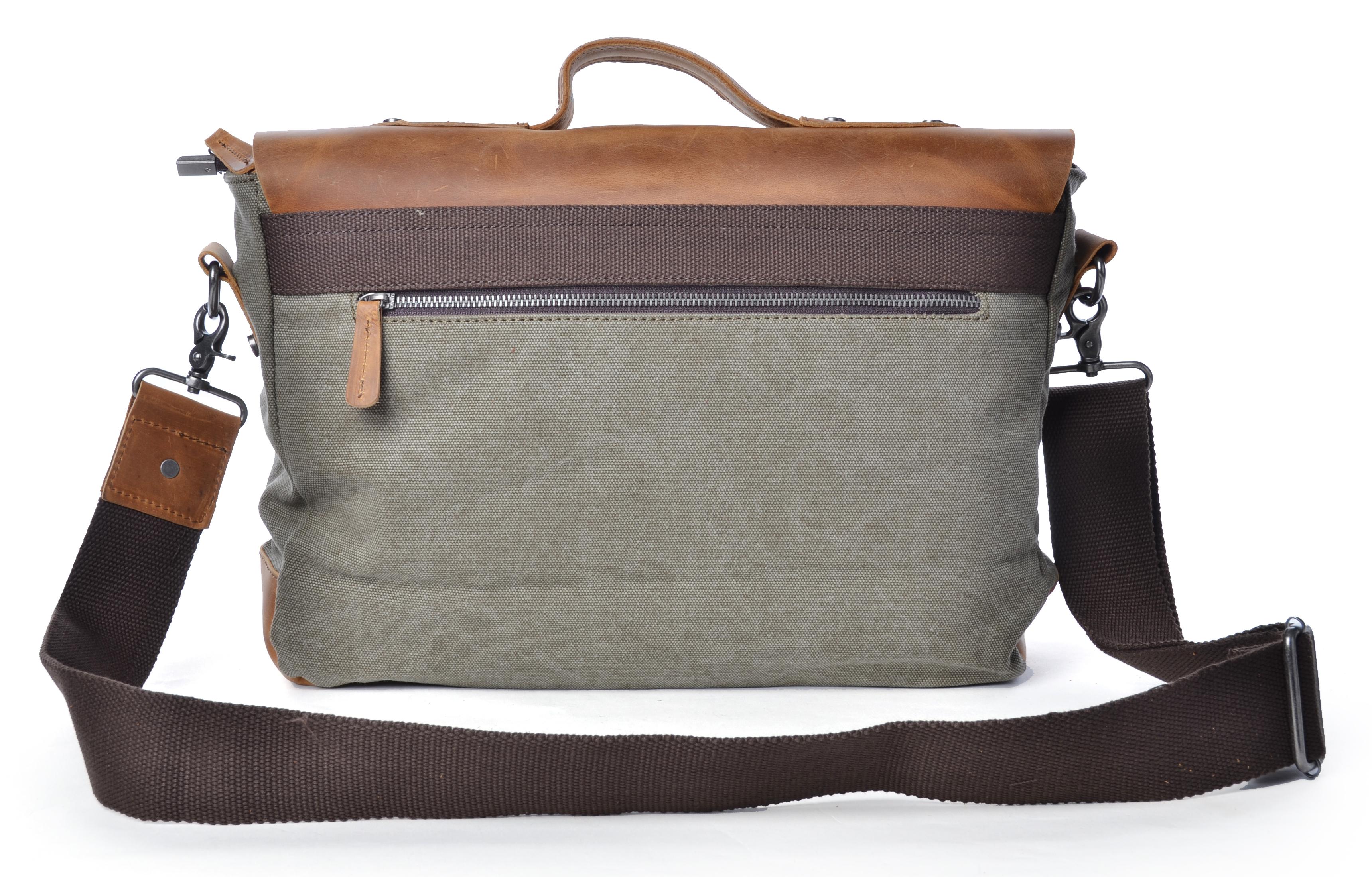 Gootium Vintage Canvas Leather Messenger Bag Briefcase Laptop Bag ...