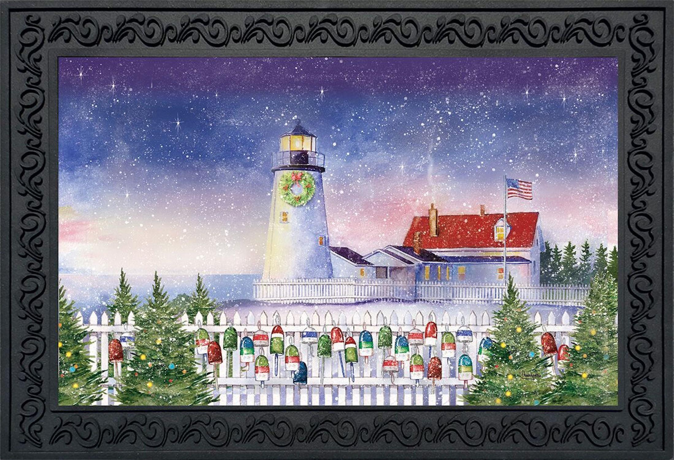 Christmas Lighthouse Doormat Nautical Indoor Outdoor 18 Quot X