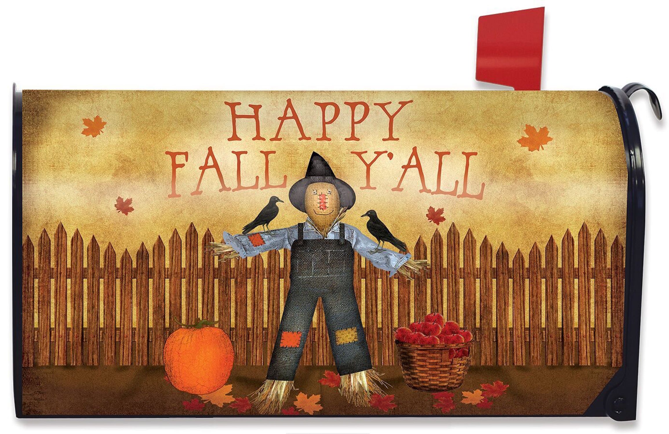 Happy Fall Y All Scarecrow Mailbox Cover Primitive Autumn