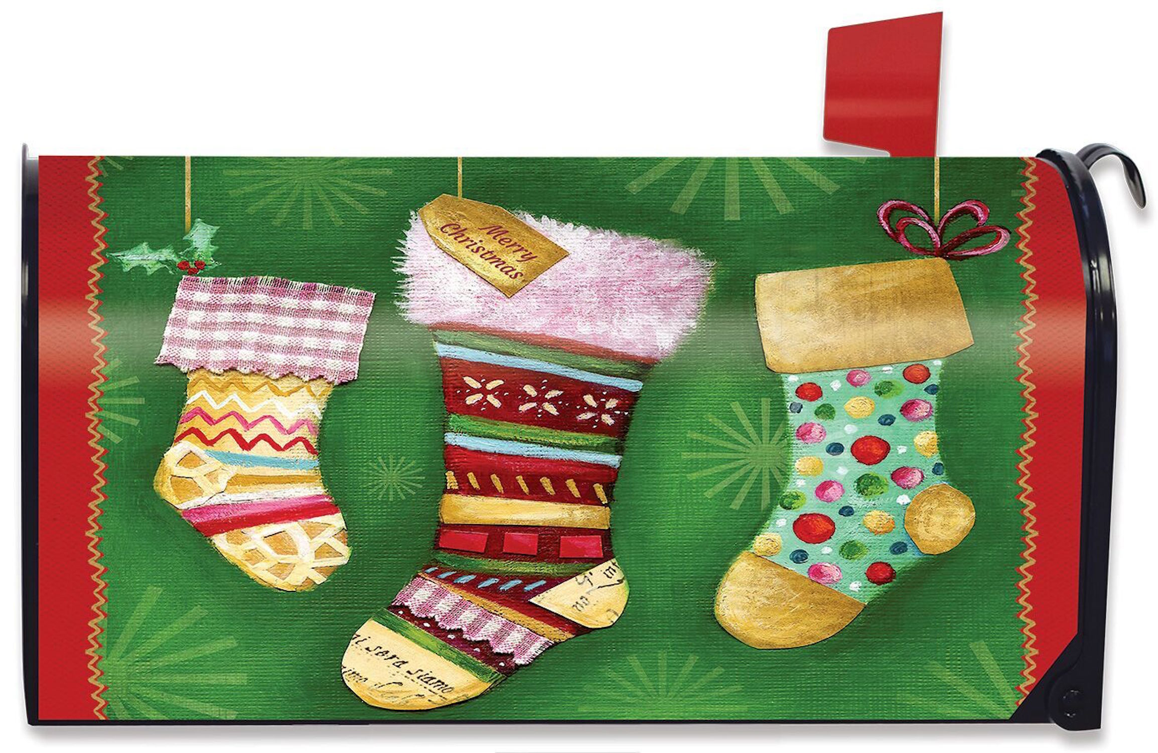 Christmas stockings magnetic mailbox cover holiday