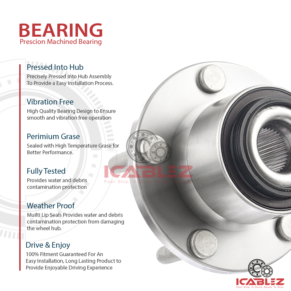 2x 062013 Volvo C70 Replacement Front Wheel Hub Bearing Assembly