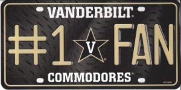 Vanderbilt Commodores #1 FAN Metal License Plate