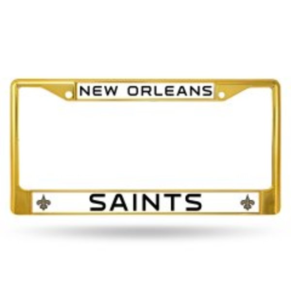 New Orleans SAINTS Anodized Gold License Plate Frame  Free Screw Caps with this Frame