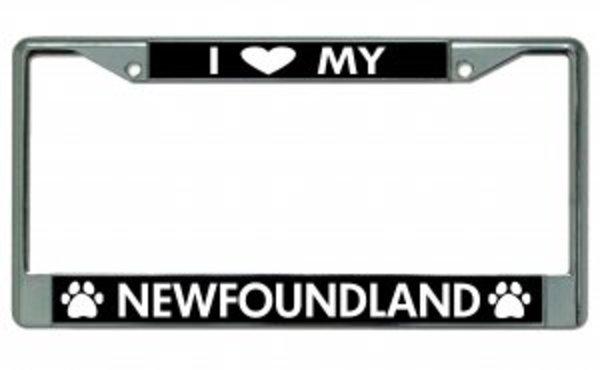 I Love My NEWfoundland Chrome License Plate Frame