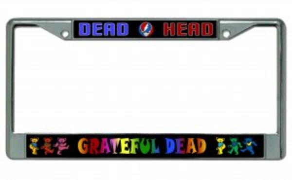 GRATEFUL DEAD - DEAD Head Chrome License Plate Frame