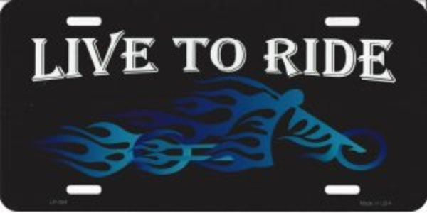 Live to Ride BIKER Blue Flames Choppers Metal License Plate