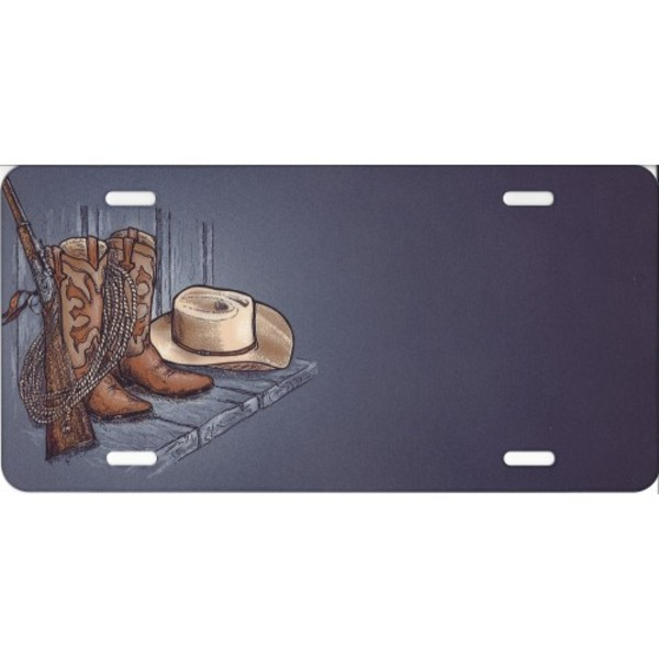 Offset COWBOY Boots And HAT License Plate