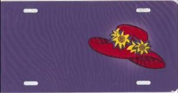 RED HAT on Purple Airbrush License Plate Free Names on this Air Brush