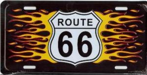 ROUTE 66 with Flames License Plate
