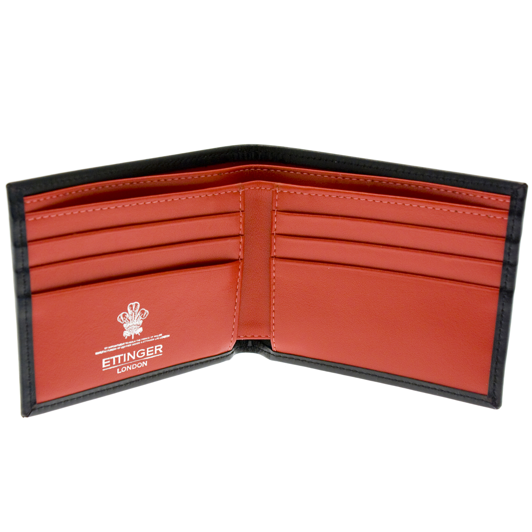 ettinger leather billfold wallet black with red interior