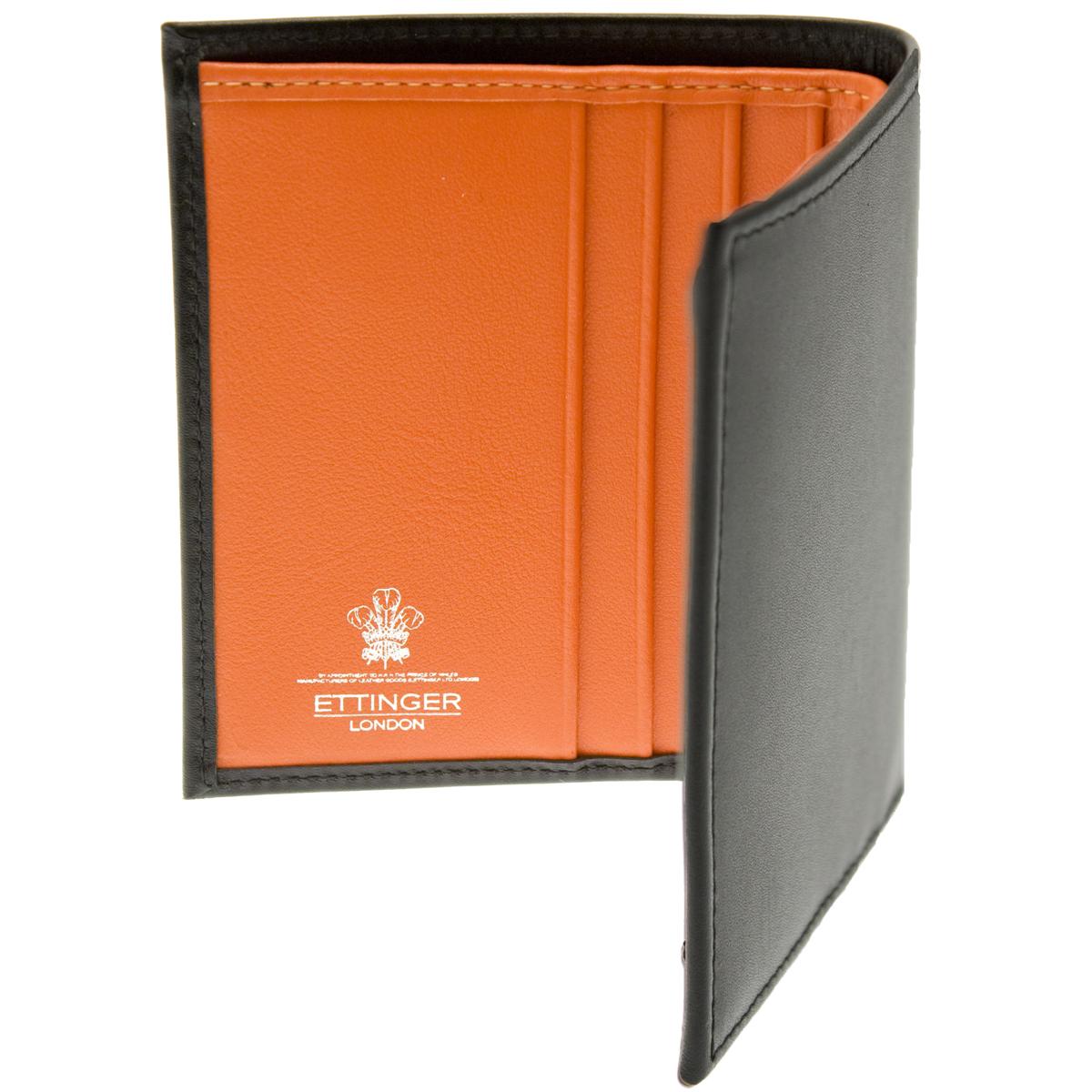 Ettinger Leather Mini Wallet Black With Orange Interior Ebay