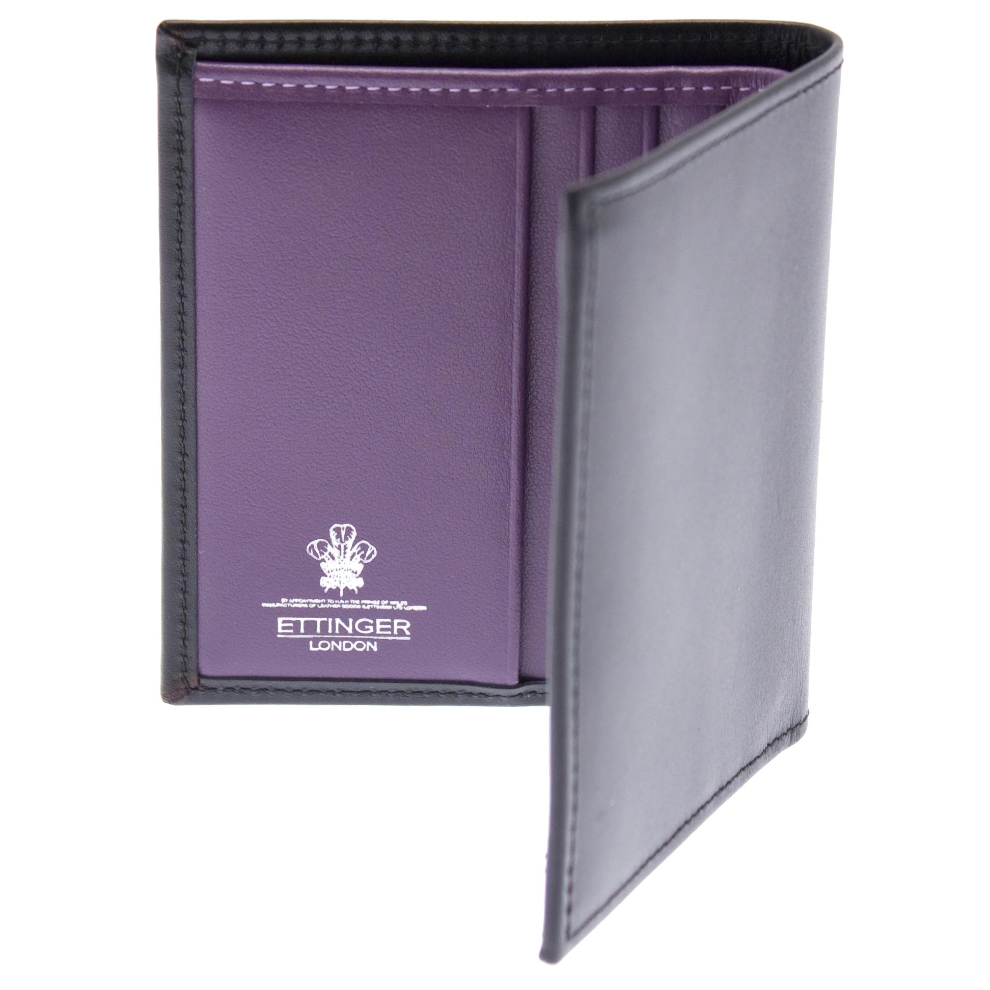 Ettinger Leather Mini Wallet Black With Purple Interior Ebay