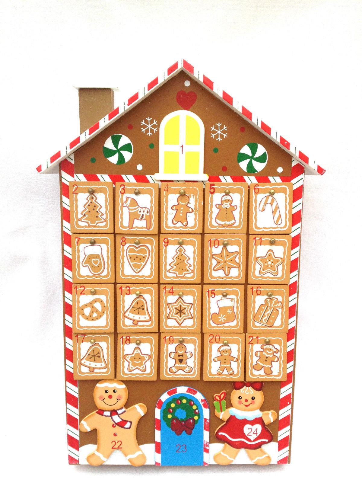 ... CHRISTMAS CHILDREN'S WOODEN GINGERBREAD MAN HOUSE ADVENT CALENDAR