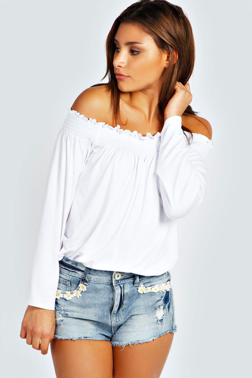 Boohoo Womens Ladies Kylie Shirred Off The Shoulder Top ...