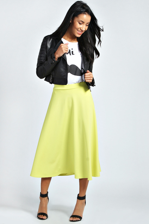 Boohoo Womens Ladies Arianna Plain Full Circle Midi Skirt | eBay