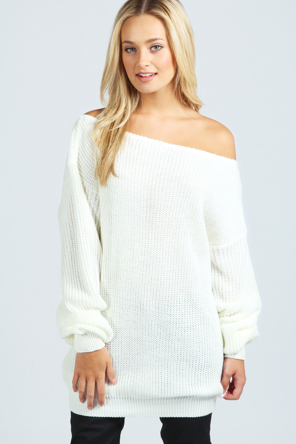 Boohoo-Womens-Ladies-Lola-Slash-Neck-Fisherman-Jumper