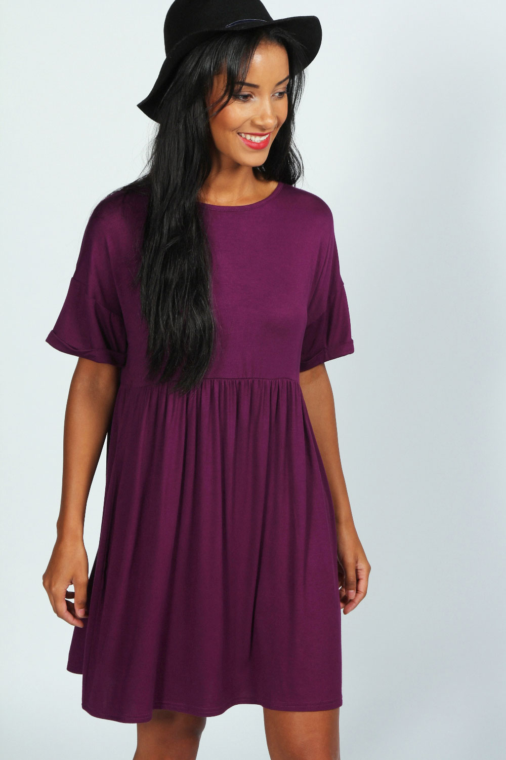 Boohoo-Womens-Ladies-Ruby-Oversized-Short-Sleeve-Smock-Dress