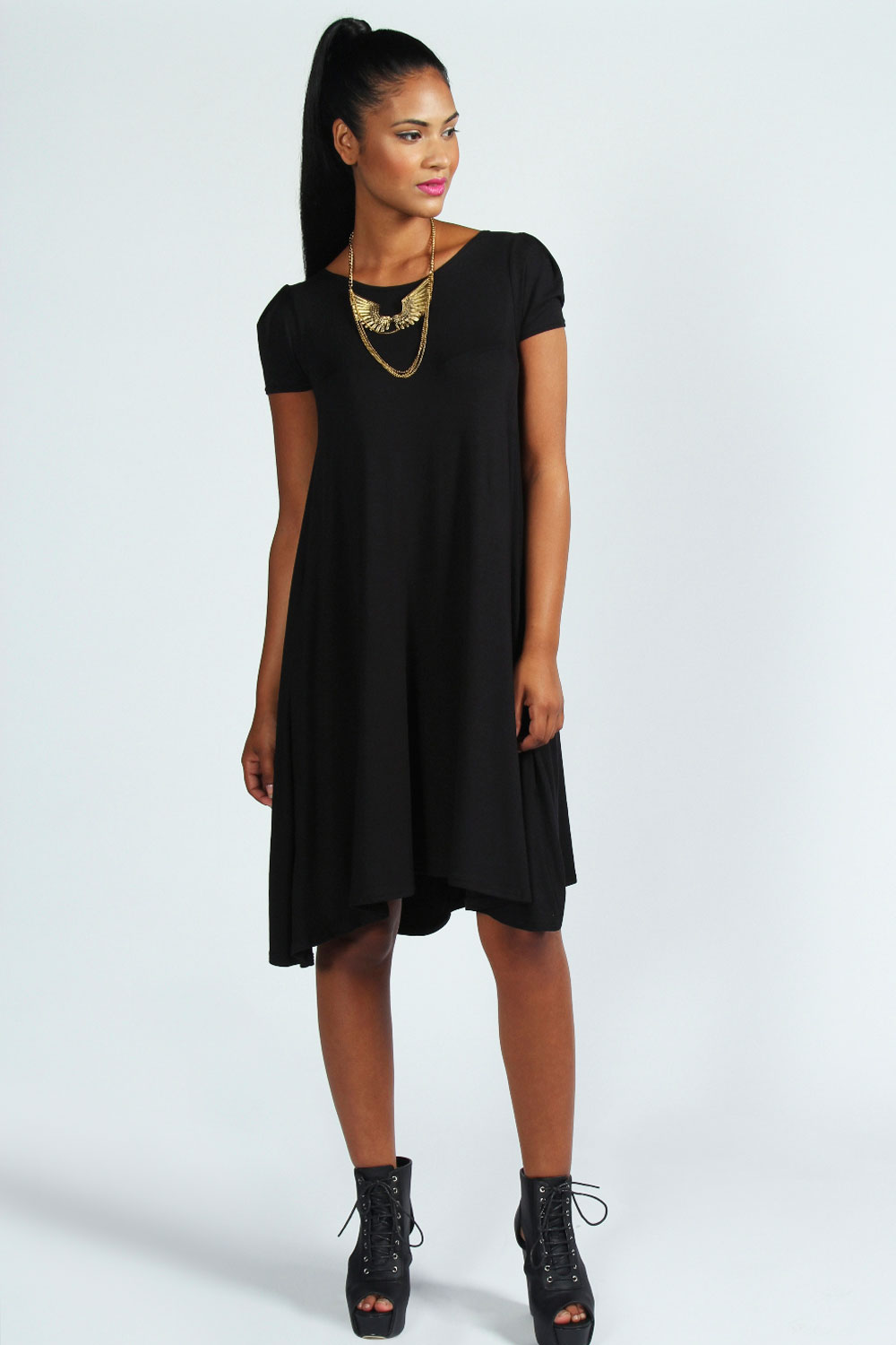 Boohoo-Womens-Ladies-Selma-Cap-Sleeve-Jersey-Swing-Dress