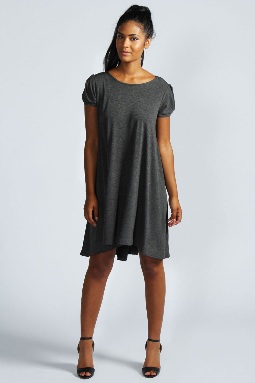 Boohoo-Womens-Ladies-Selma-Cap-Sleeve-Jersey-Swing-Dress