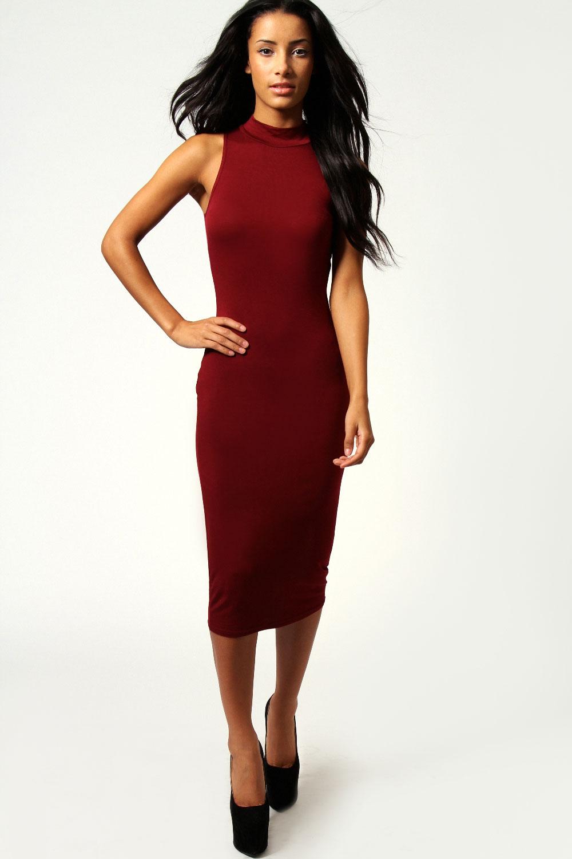 Boohoo-Womens-Ladies-Billie-High-Neck-Sleeveless-Midi-Bodycon-Dress