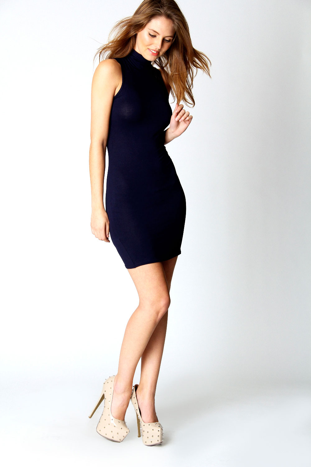 Boohoo-Womens-Ladies-Lydia-High-Neck-Jersey-Bodycon-Dress