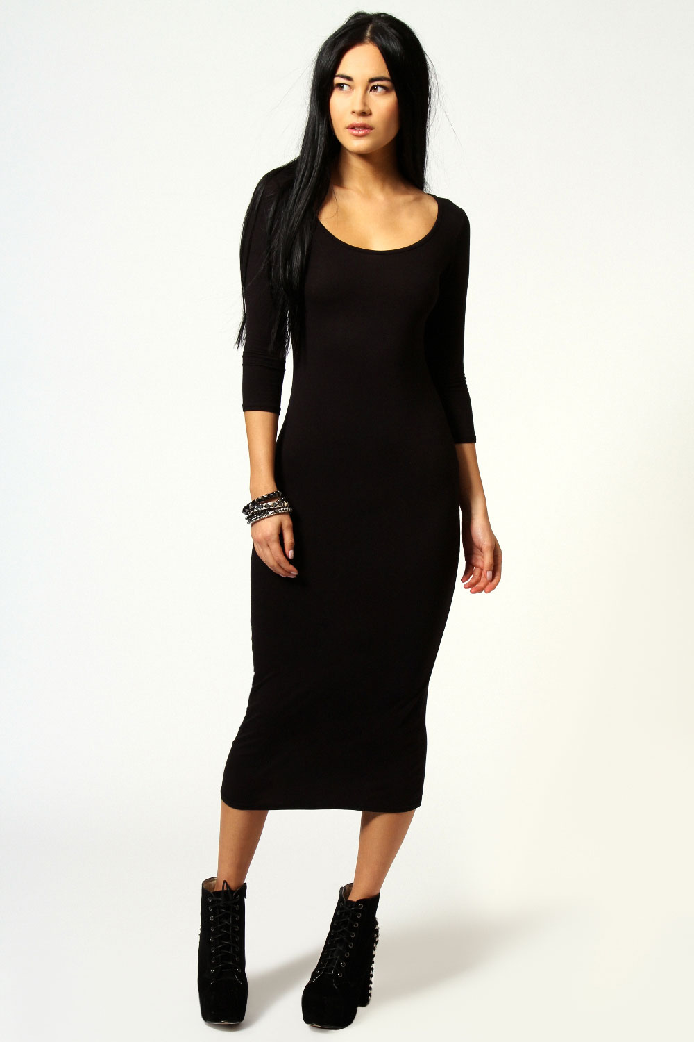 Boohoo-Womens-Ladies-Philippa-3-4-Sleeve-Midi-Dress