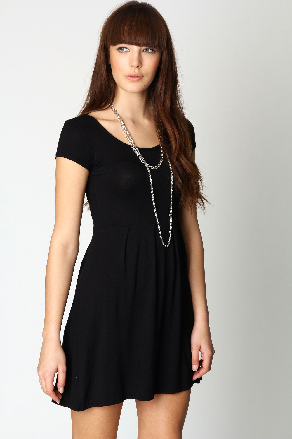 Boohoo-Womens-Ladies-Claudia-Jersey-Cap-Sleeve-Skater-Dress