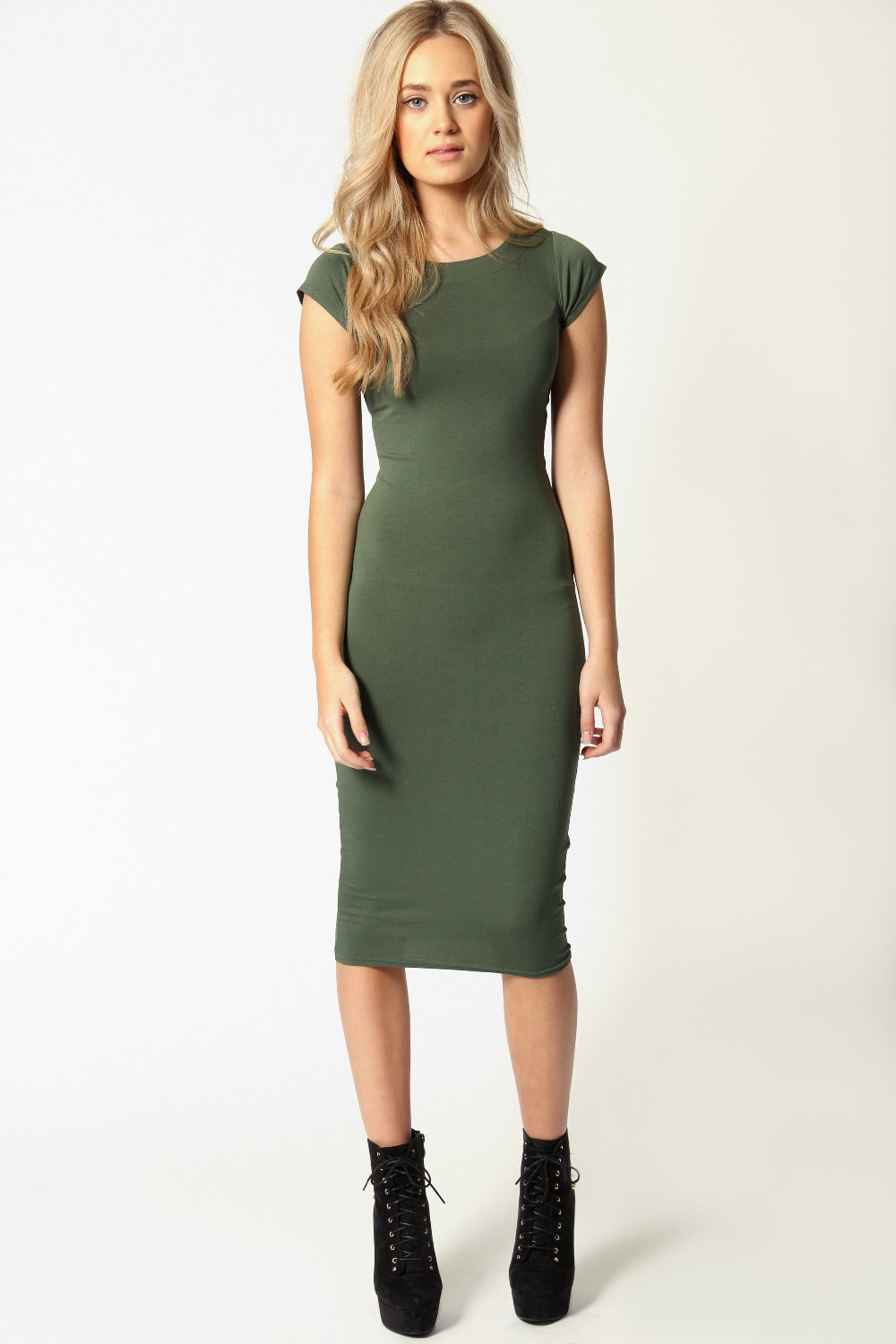 Boohoo-Womens-Ladies-Cara-Cap-Sleeve-Jersey-Bodycon-Midi-Dress