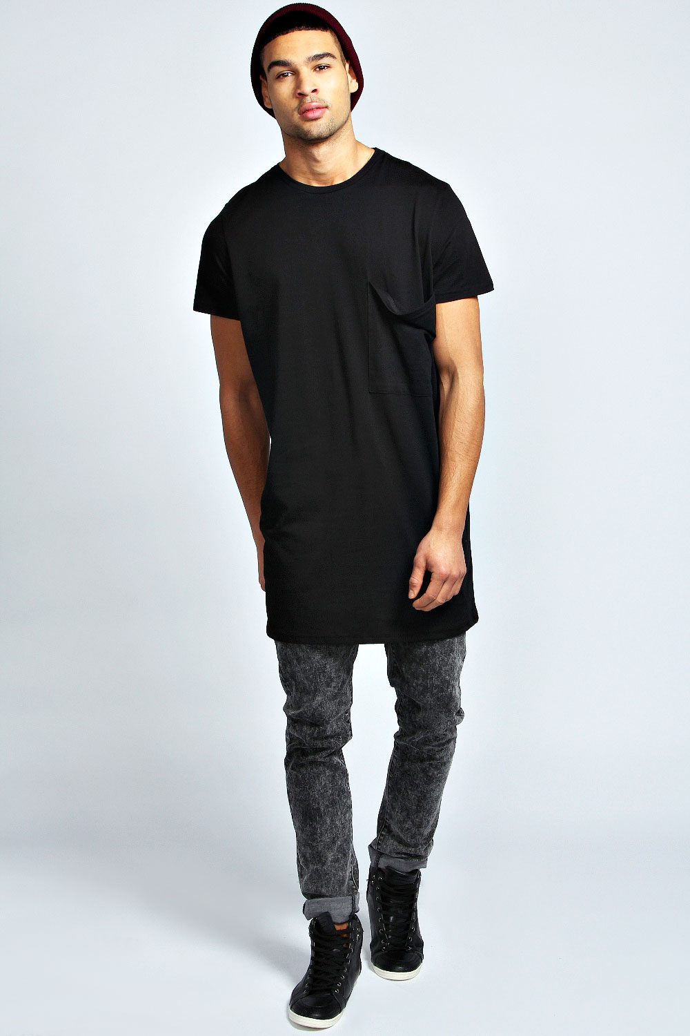 Boohoo Mens Oversized Pocket Long Line 100 % Cotton Tee Top T ...