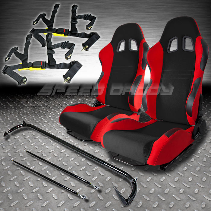 2 red racing seats sliders harness bar 4pt black belts bmw mustang corvette neon ebay. Black Bedroom Furniture Sets. Home Design Ideas
