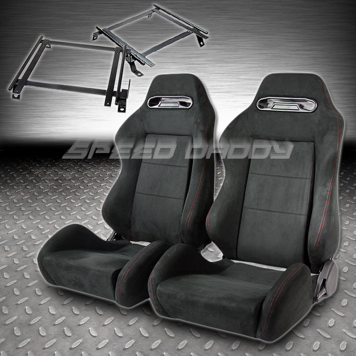 2 X TYPE-R BLACK SUEDE RECLINABLE RACING SEATS/SEAT