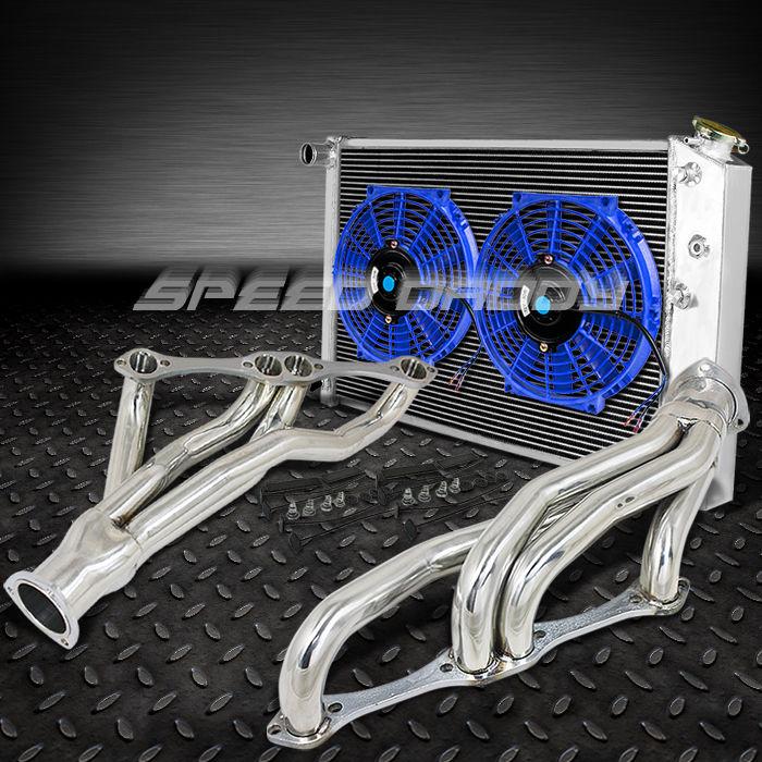 RACING MANIFOLD HEADER+3-ROW RADIATOR+BLUE FANS 265-350 V8