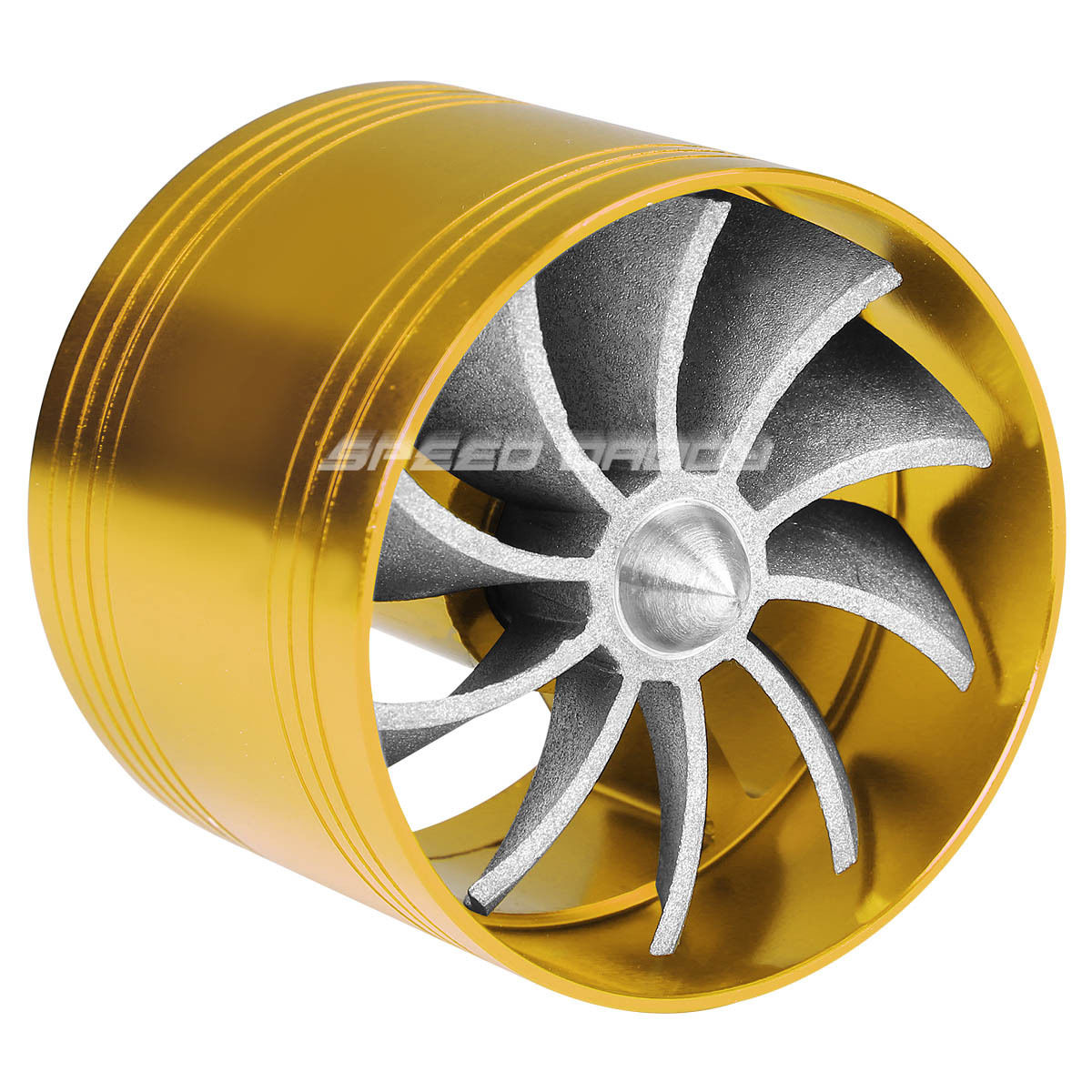 5 Propeller Fan : Gold quot air intake turbo filter adapter fuel gas saver