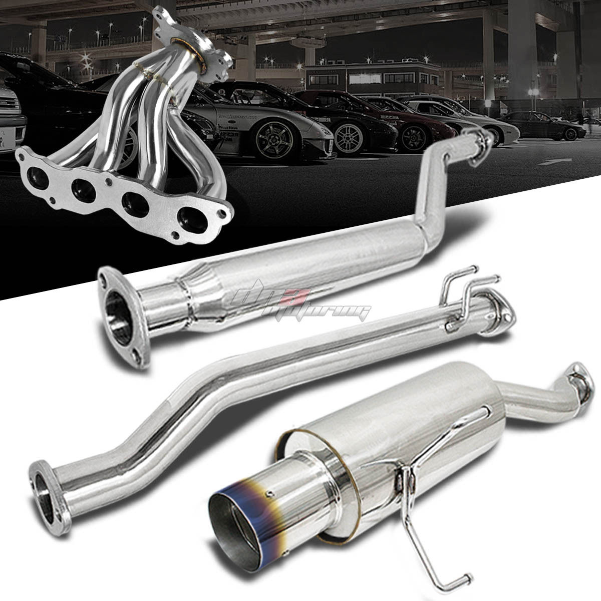 For 02 05 civic si catback exhaust pipe muffler 4 burnt for Dna motoring exhaust civic