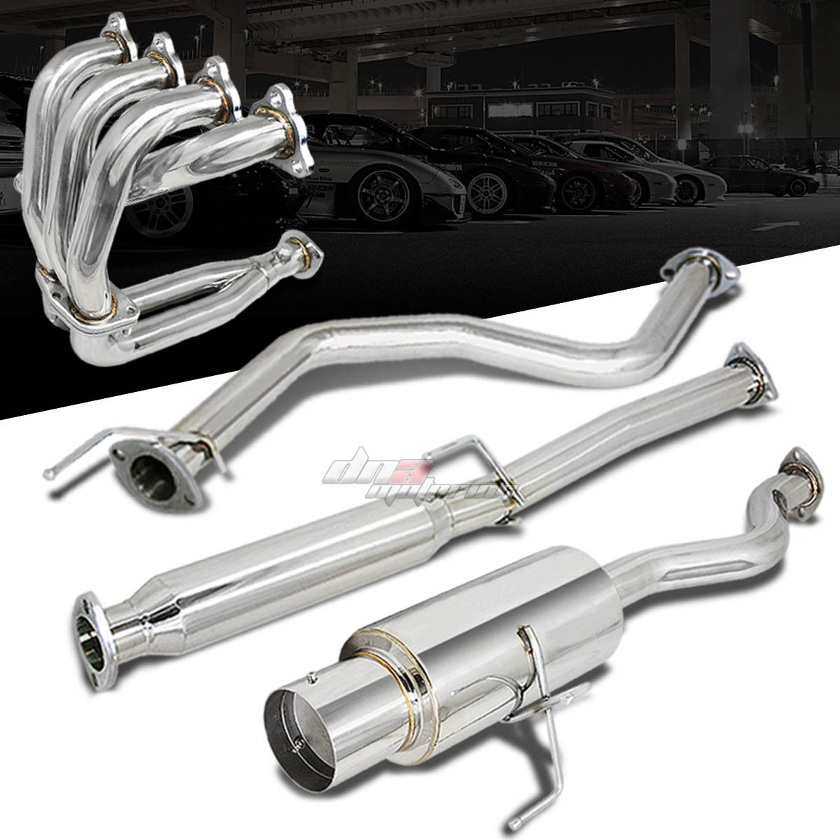 Racing 4 5 muffler tip catback exhaust header manifold for for Dna motoring exhaust civic