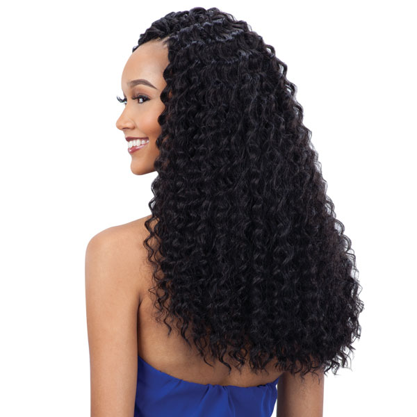 ... 3X PRE-LOOP DEEP TWIST 16 Crochet Synthetic Braiding Hair #1 Jet Blck