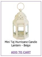Mini Taj Hurricane Candle Lantern - Beige