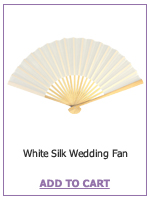 White Lady's White Folding Silk Bamboo Hand Fan - Wedding Party